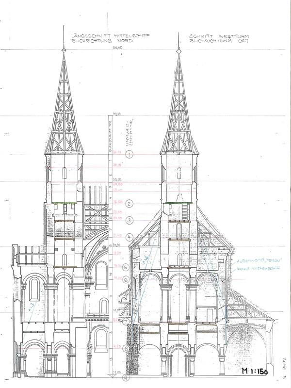 Sanierung Basilika Ellwangen Querschnitt